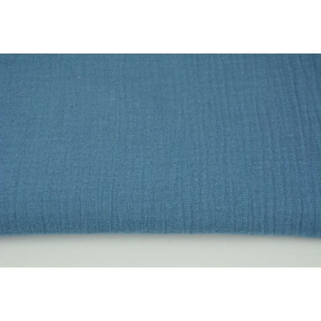 Double gauze 100% cotton plain dark blue