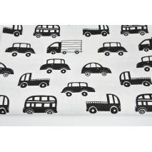 Bawełna 100% czarne auta na białym tle