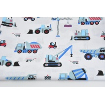 Cotton 100% blue construction vehicles on a white background