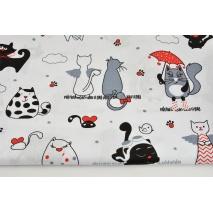 Bawełna 100% duże koty na białym tle (2)