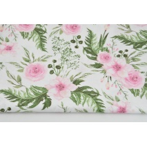 Bawełna 100% różowe dzikie kwiaty na białym tle
