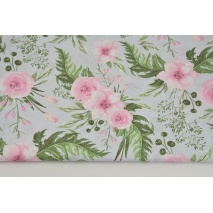 Cotton 100% pink wild blossom on a gray background