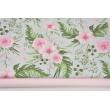Bawełna 100% różowe dzikie kwiaty na szarym tle