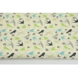 Cotton 100% turquoise-gray-green swallows on a cream background