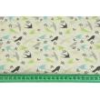 Bawełna 100% turkusowo-szaro-zielone jaskółki na kremowym tle