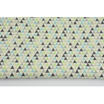 Cotton 100% turquoise-gray-green mini triangles on a cream background RZ
