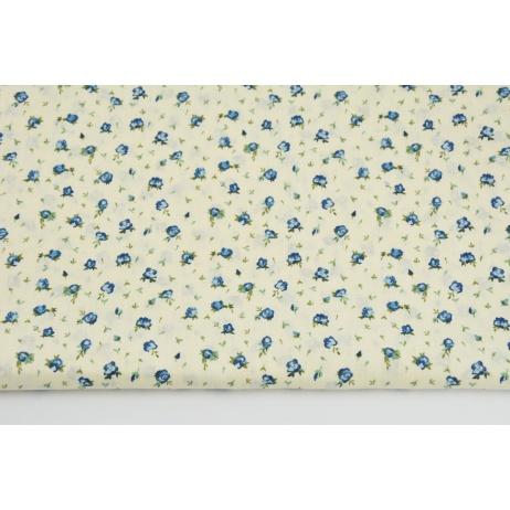 Bawełna 100% małe niebieskie różyczki na kremowym tle