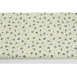 Cotton 100% small blue roses on a cream background