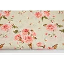 Cotton 100% salmon english roses on a cream background