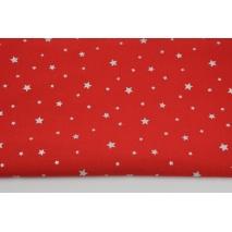Bawełna 100% srebrne gwiazdki na czerwonym tle