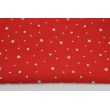 Cotton 100% silver stars on a red background