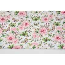 Cotton 100% roses, butterflies coral-green