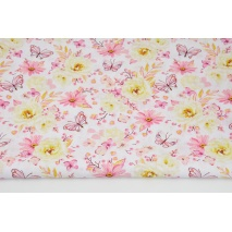Bawełna 100% róże, motyle żółto-różowe