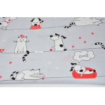 Bawełna 100% psy i koty na linach na szarym tle