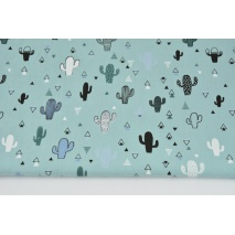 Cotton 100% small cactuses on a light azure background II quality