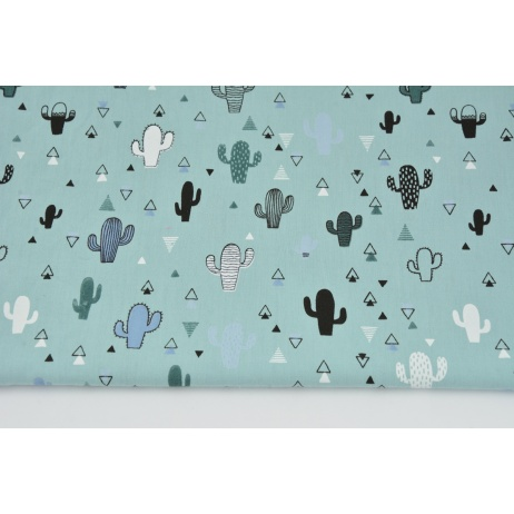 Cotton 100% small cactuses on a light azure background PREMIUM