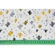 Bawełna 100% miodowo-szare małe kaktusy na białym tle II jakość