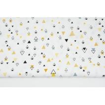 Bawełna 100% miodowo-szare mini piramidki na białym tle II jakość