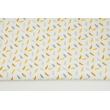 Bawełna 100% małe piórka szaro-miodowe na białym tle II jakość