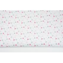 Bawełna 100% małe dmuchawce szaro-różowe na białym tle II jakość