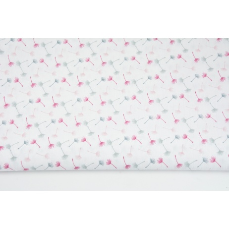 Cotton 100% small gray-pink dandelions on a white background II quality
