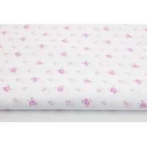 Bawełna 100% drobne różowe różyczki na białym tle II jakość
