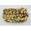 Ombre ribbon with small pom poms beige-brown - double thread