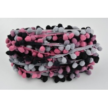 Ombre ribbon with small pom poms heather-gray - double thread