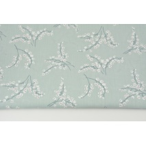 Cotton 100% lilies of the valley on a gray-mint background, poplin