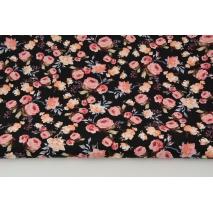 Bawełna 100% małe róże koralowo-morelowe na czarnym tle, popelina