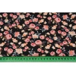 Cotton 100% small coral and apricot roses on a black background, poplin