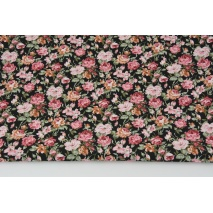 Cotton 100% burgundy-pink flowers on a black background, poplin