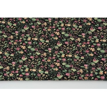 Cotton 100% heather meadow on a black background, poplin