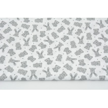 Cotton 100% small gray teddy bears, bunnies on a white background