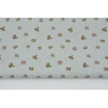 Bawełna 100% drobne bukiety różowych kwiatów na szarym tle