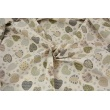 Cotton 100% patterned gray-beige apples on a light beige background