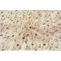 100% PES clothing fabric, black - ginger meadow on a cream background