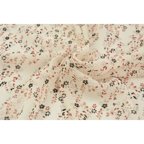 100% PES tkanina odzieżowa, czarno-ruda łączka na kremowym tle