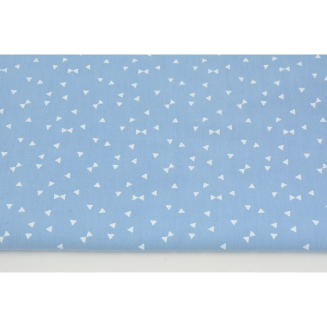Cotton 100% white micro triangles on a light blue background PREMIUM
