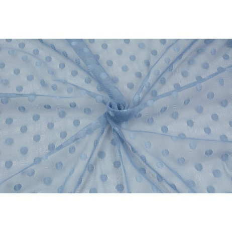 Soft tulle with dots, blue