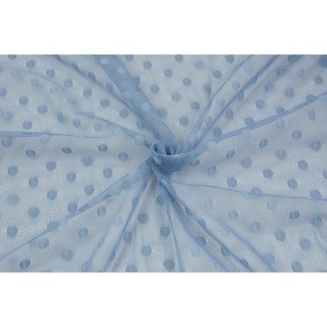 Tiul miękki w kropki, niebieski