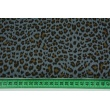 Double gauze 100% cotton panther pattern on a dark graphite background
