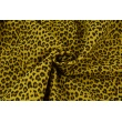 Double gauze 100% cotton panther pattern on a mustard background
