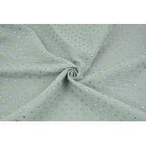 Double gauze 100% cotton golden stars on a light gray background