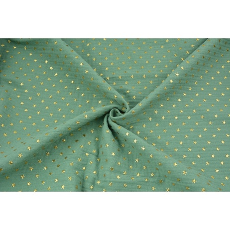 Double gauze 100% cotton golden stars on a green background