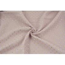 Double gauze 100% cotton golden stars on a dirty heather background