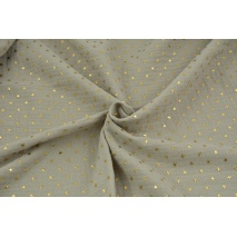 Double gauze 100% cotton golden stars on a chilly beige background