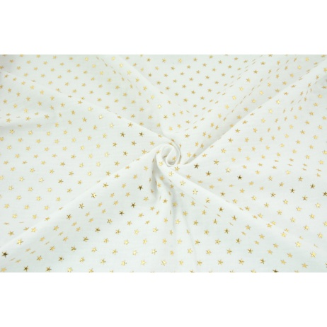 Double gauze 100% cotton golden stars on a white background