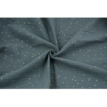 Double gauze 100% cotton golden dots on a dark graphite background
