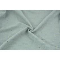 Double gauze 100% cotton golden dots on a light gray background